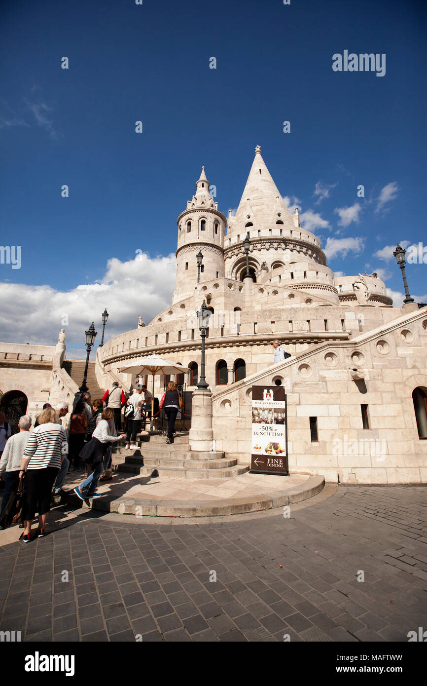 Fisherman's Bastion is a terrace in neo-Gothic and neo-Romanesque style situated on the Buda bank of the Danube, on the Castle hill in Budapest. Stock Photo