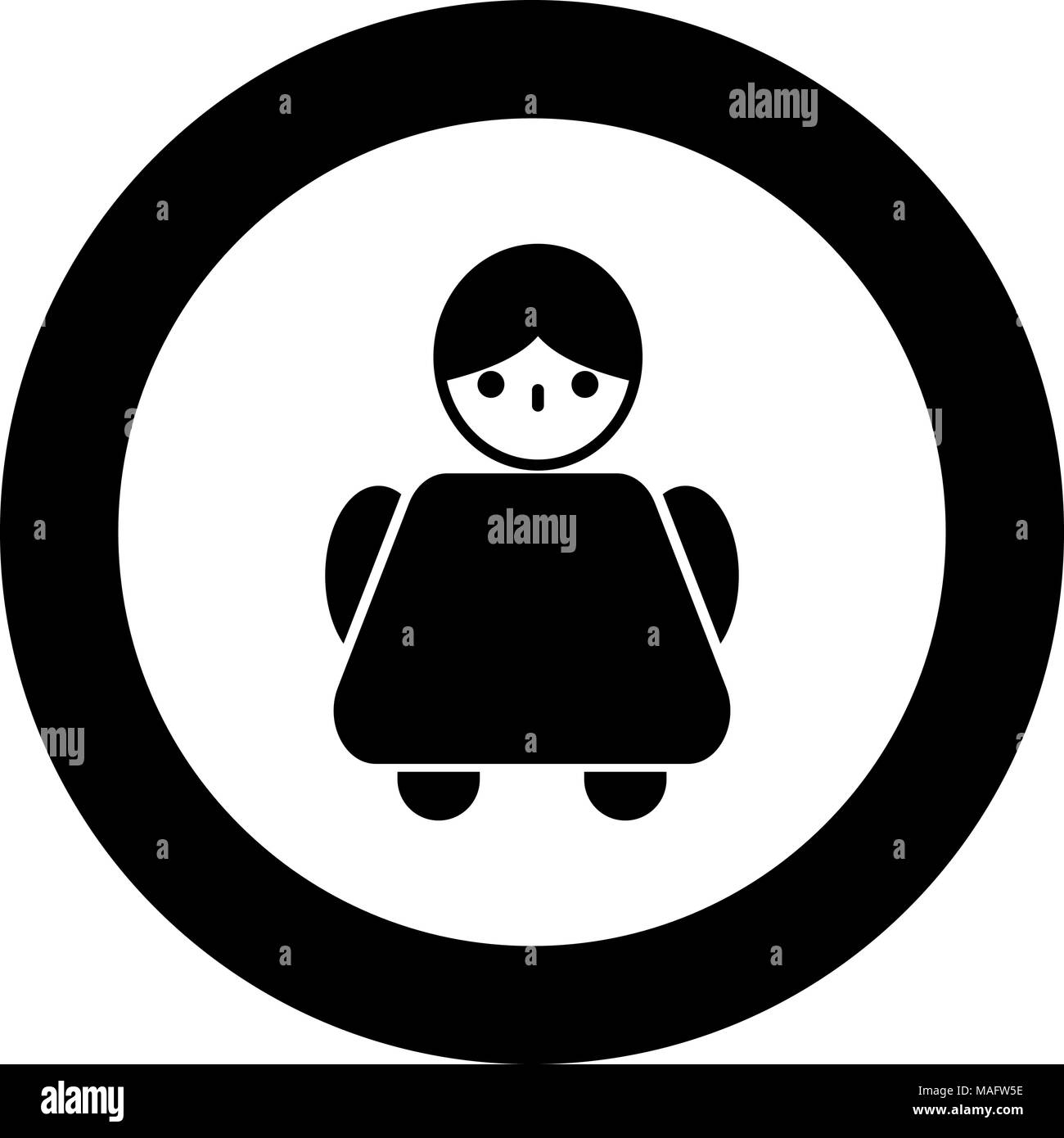 Old Woman Icon Black Color In Circle Vector Illustration Isolated