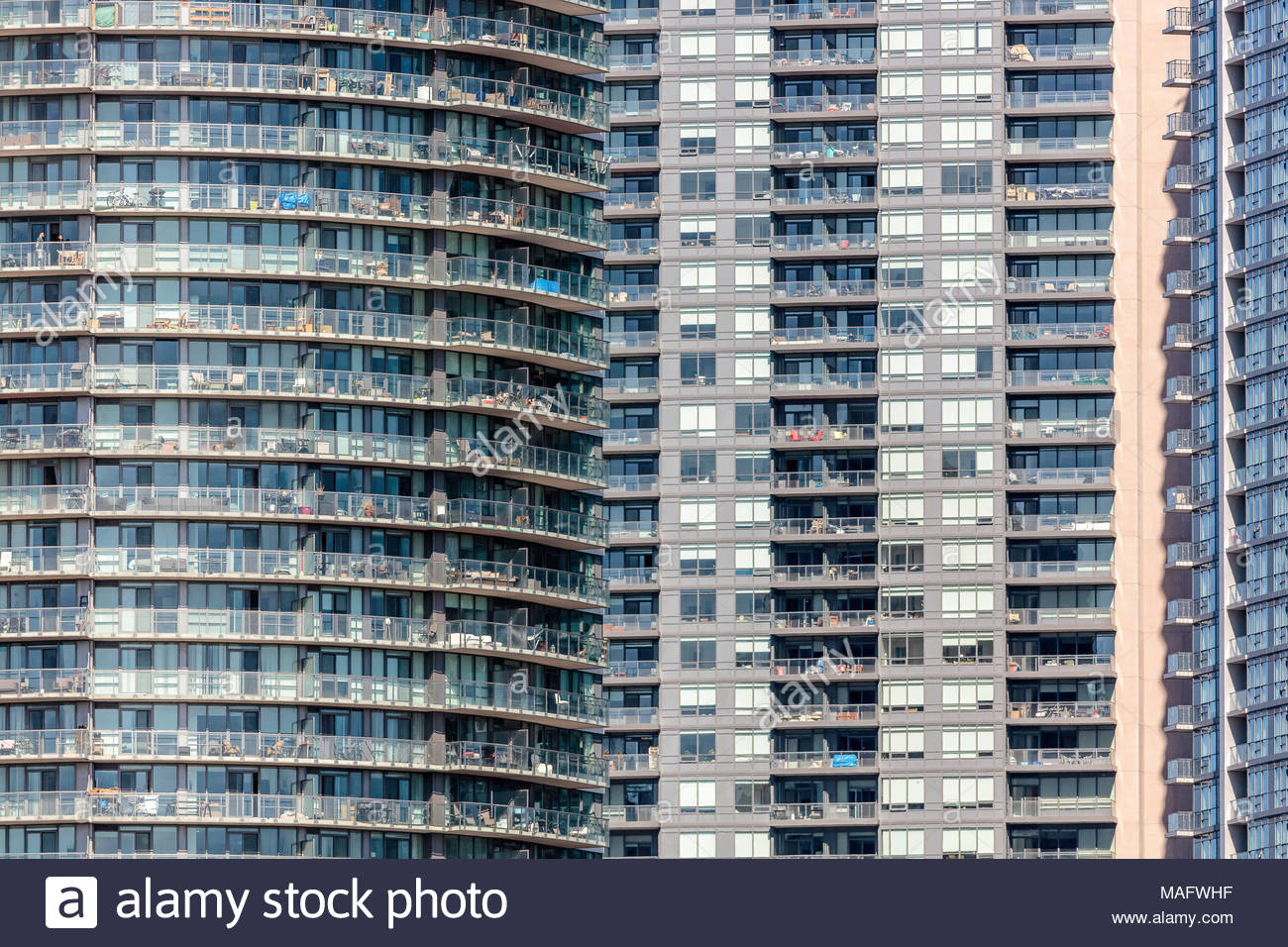 Condominium apartments a high-rise high density condo tower block development in Toronto Ontario Canada - Stock Image