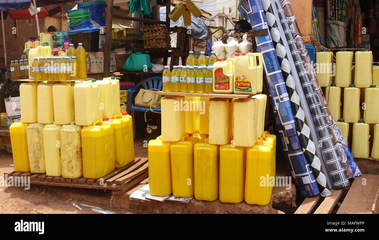 Petrol containers Uganda, East Africa - Stock Image