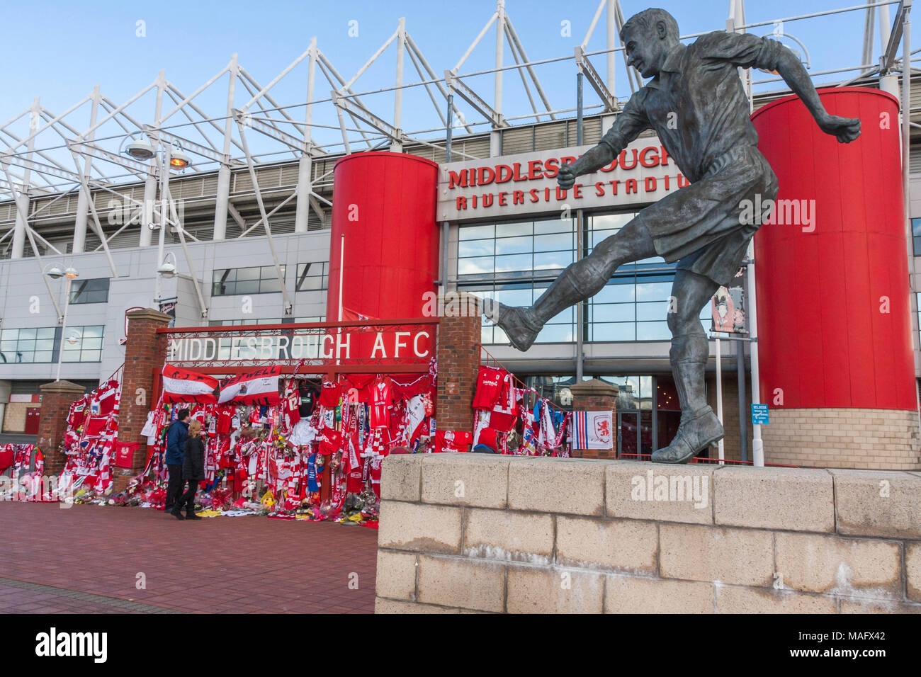 The tributes to commentator and broadcaster, Alistair Brownlee, outside Middlesbrough's Riverside Football Stadium,England,UK - Stock Image
