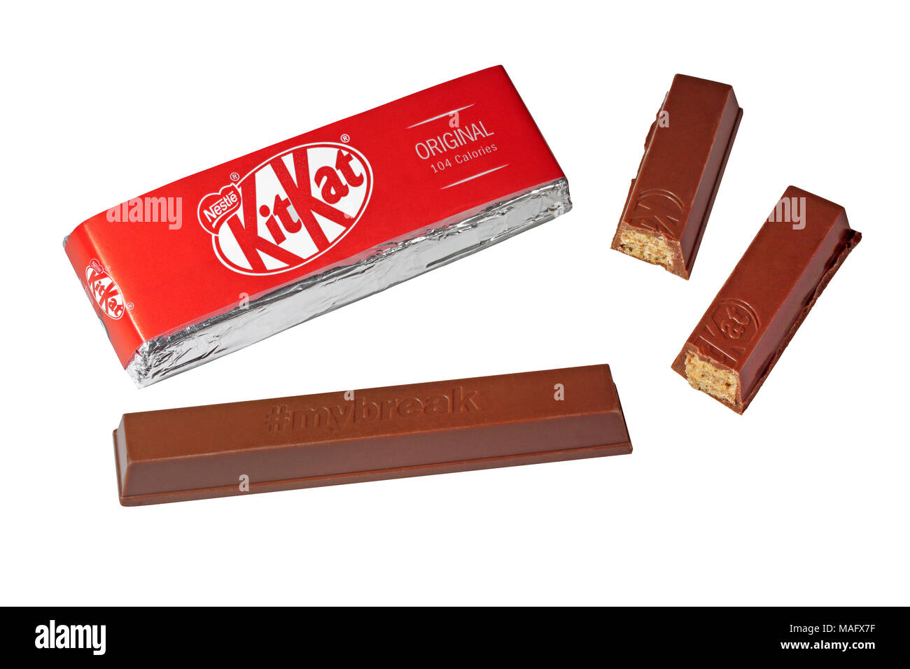 A two finger original KitKat by Nestle One bar wrapped and one bar unwrapped with one finger broken in two isolated on a white background - Stock Image