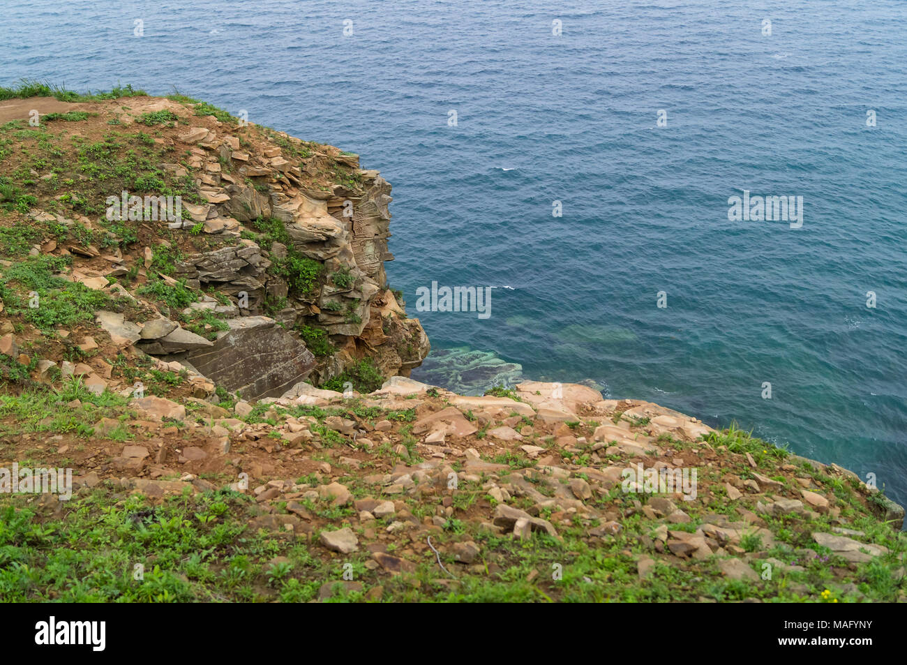 The Far Eastern landscape of one of the picturesque bays of the Russian Island. - Stock Image