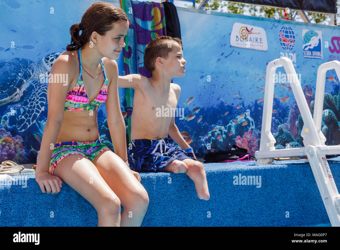 Miami Coconut Grove Florida Shake-a-Leg Miami No Barriers Festival water sport facility non-profit disabled physical disability - Stock Image