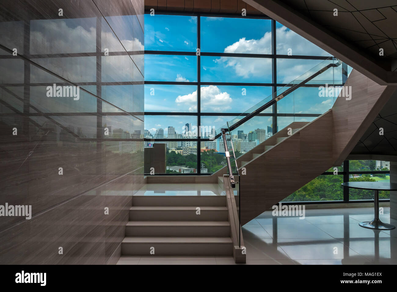 Luxury Staircase In Office Buildings With Cityscape Over From Windows Glass  , Indoor Stairs