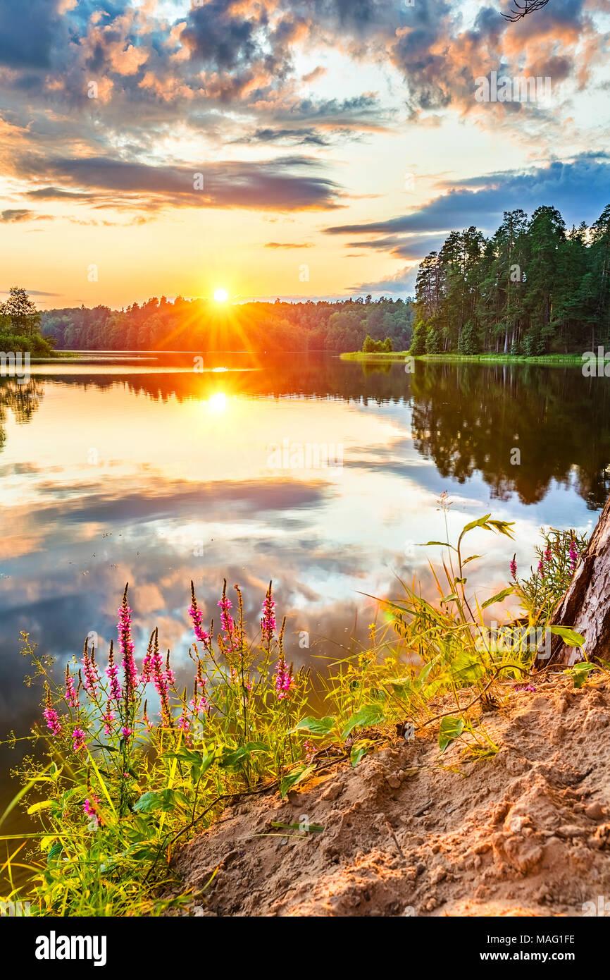 Beautiful sunset over lake Stock Photo