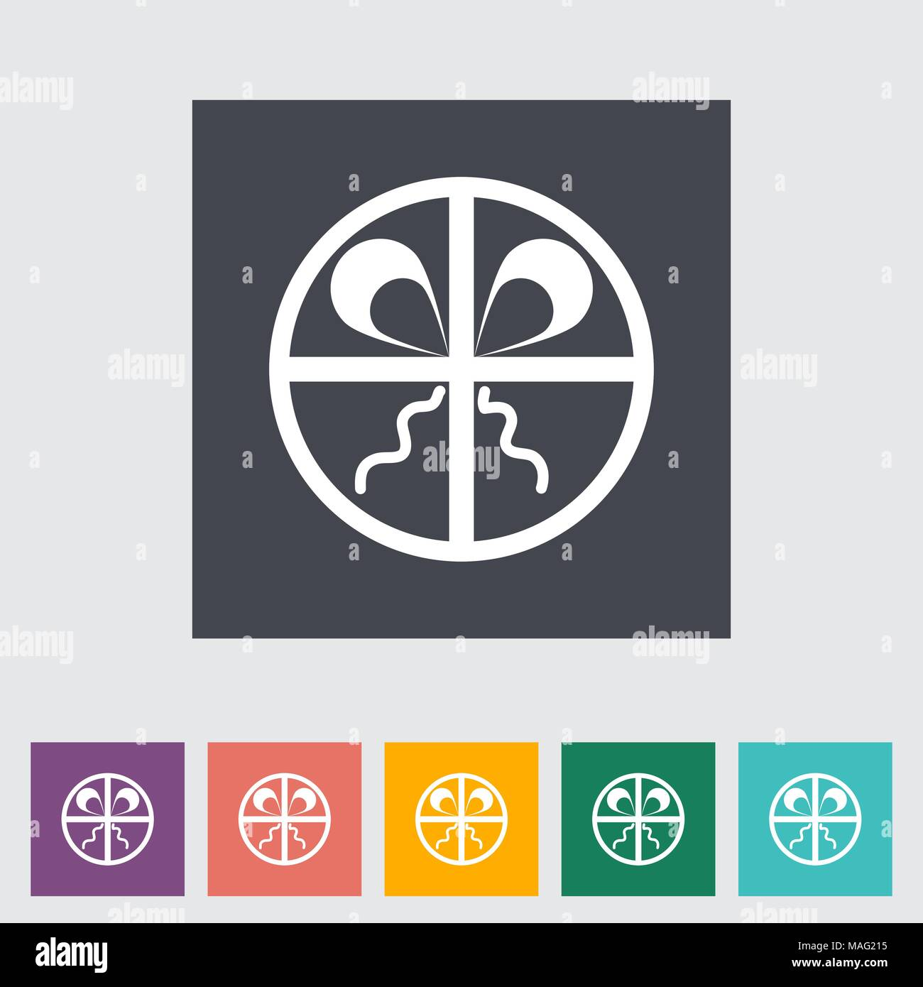 Gift box. Single flat icon on the button. Vector illustration. - Stock Image