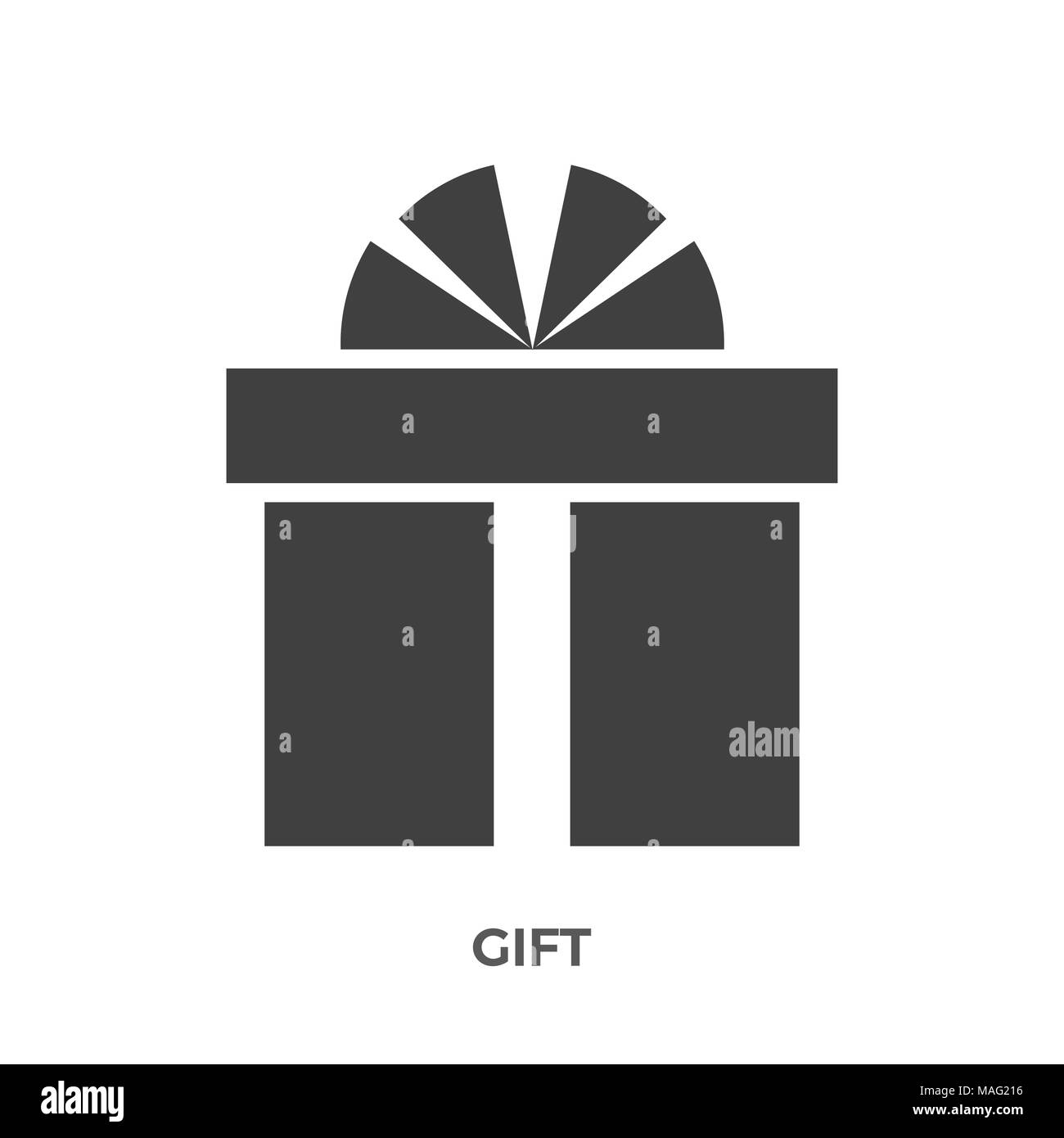 Gift Box Glyph Vector Icon Isolated on the White Background. - Stock Image