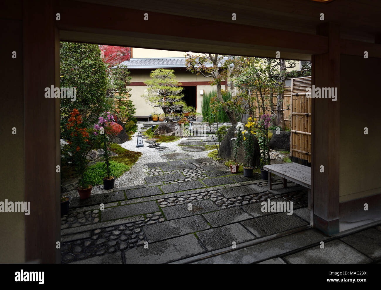 Japanese house courtyard with a beautiful traditional inner garden in Uji, Japan Stock Photo