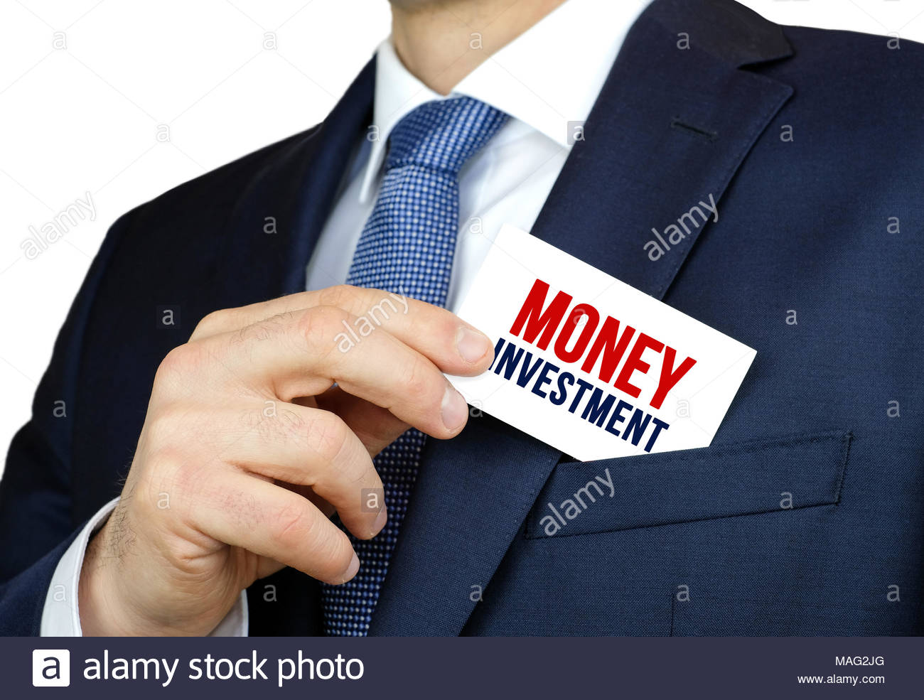 Money Investment - business card advice - Stock Image