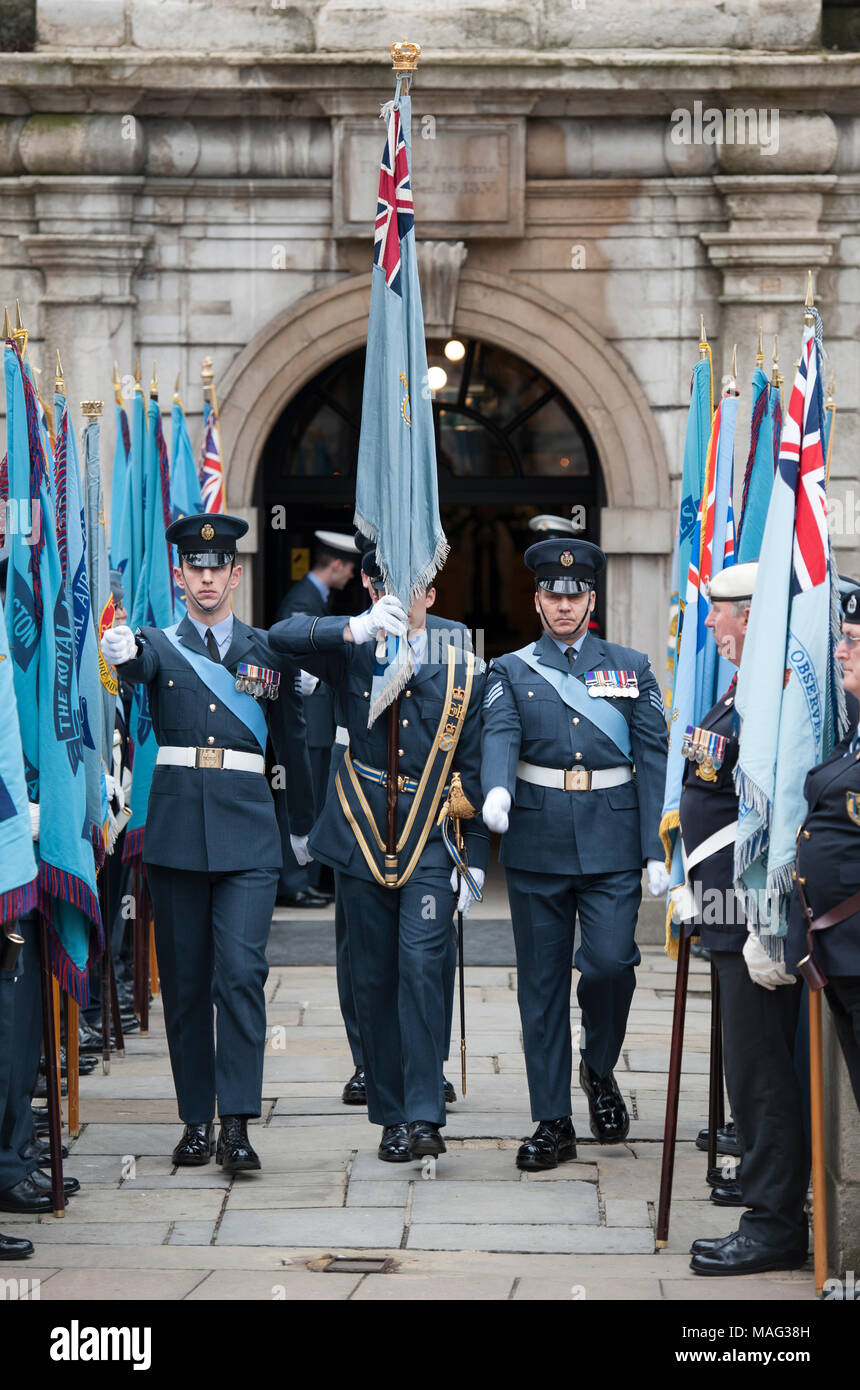 1 April 2018. RAF Founders Day service at St Clement Danes Church on The Strand in London, UK. - Stock Image