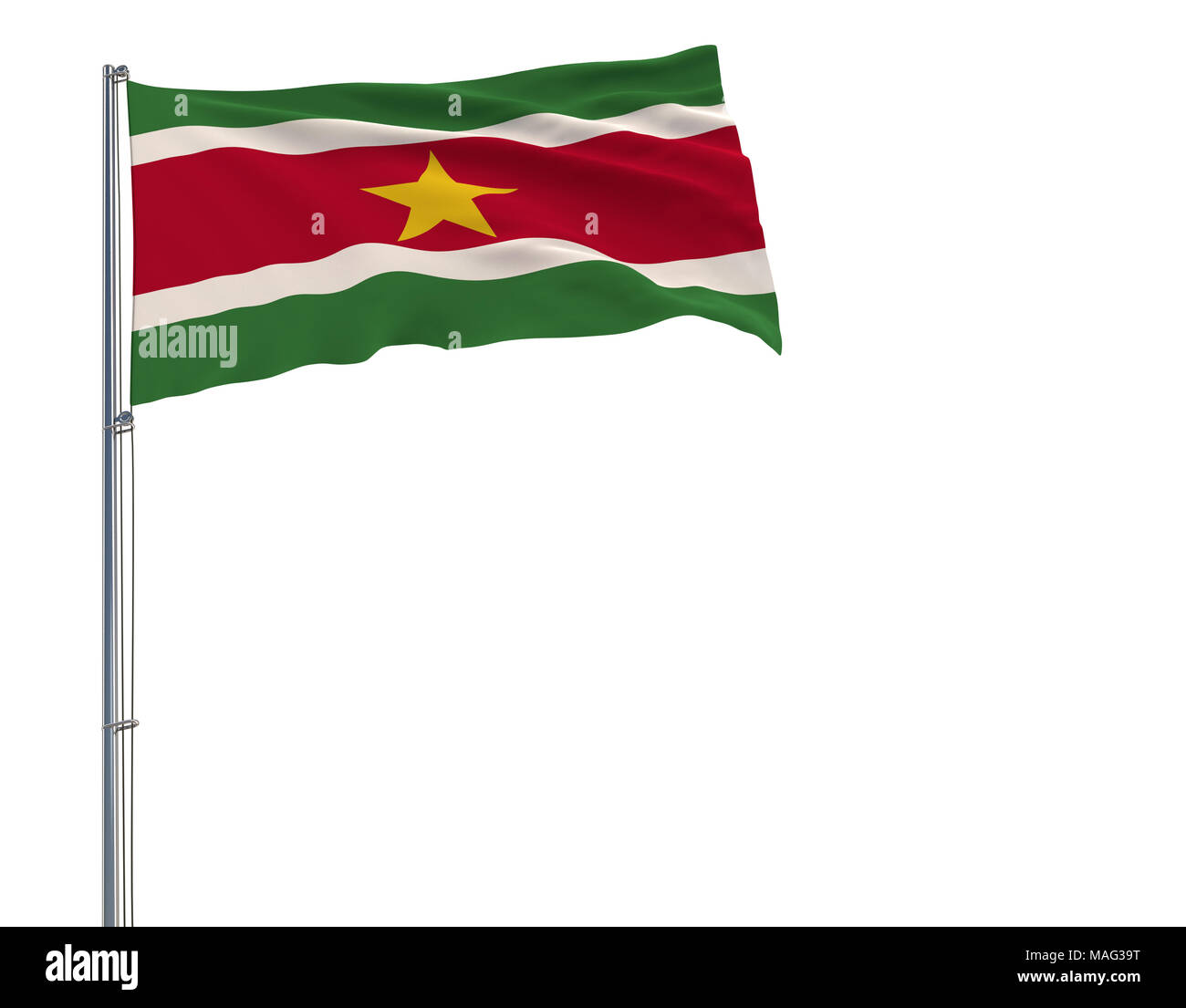 Isolate flag of Suriname on a flagpole fluttering in the wind on a white background, 3d rendering - Stock Image