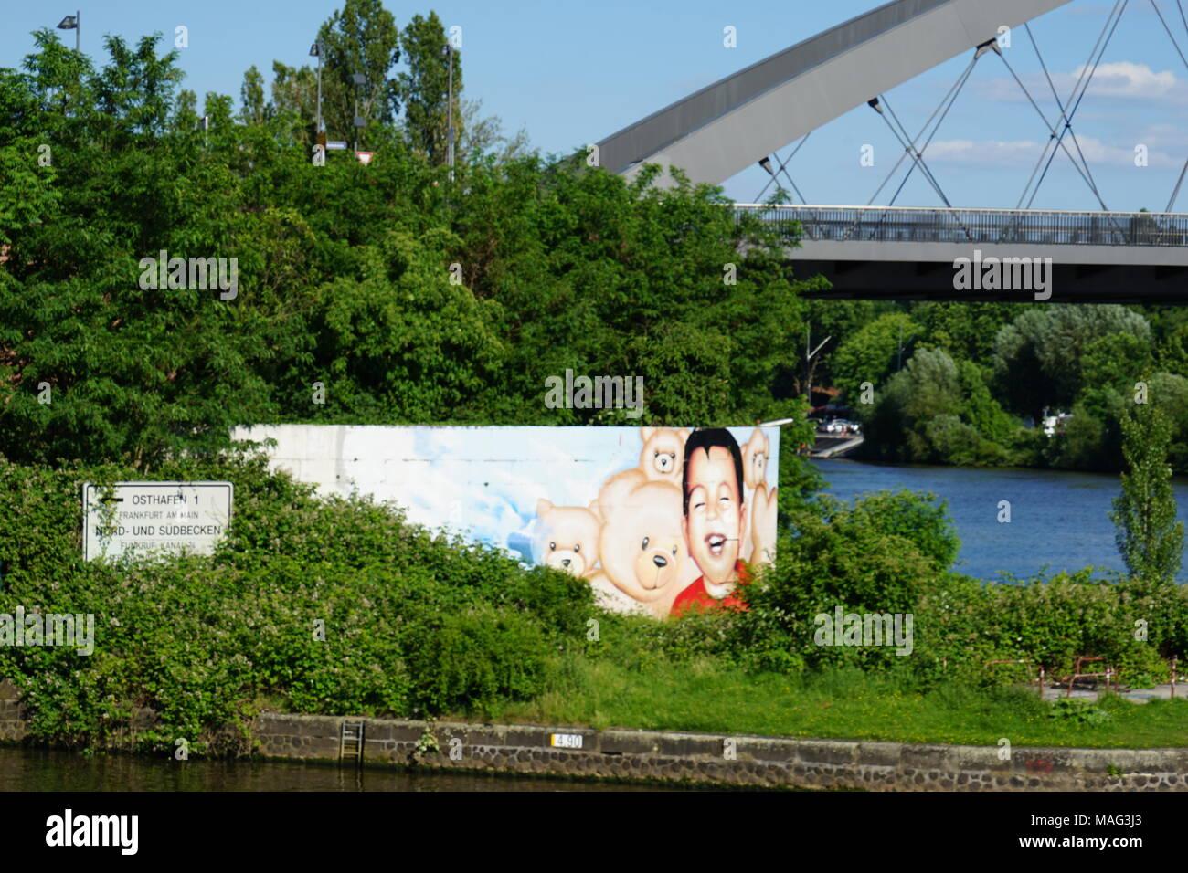 Mural, Osthafen, Osthafenbrücke, Frankfurt, Germany, Stock Photo