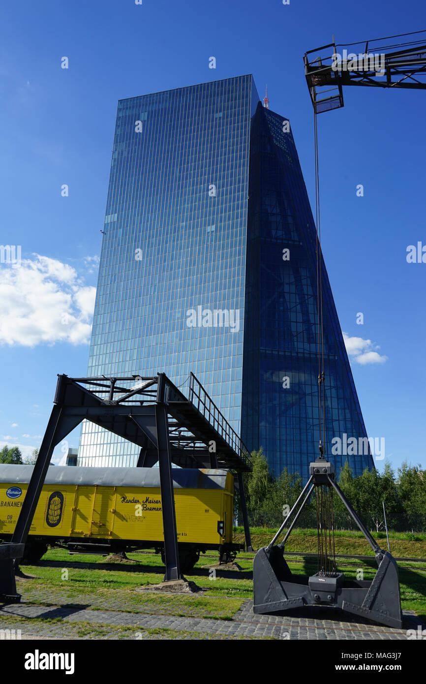 European Central Bank, Weseler Werft, listed dockside crane,  Frankfurt, Germany, - Stock Image