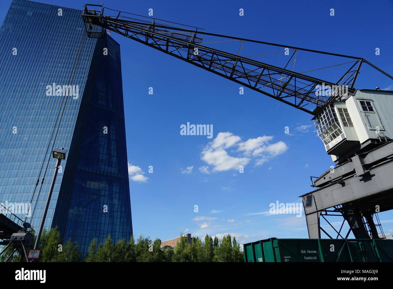 European Central Bank, Weseler Werft with listed dockside crane, Frankfurt, Germany, - Stock Image