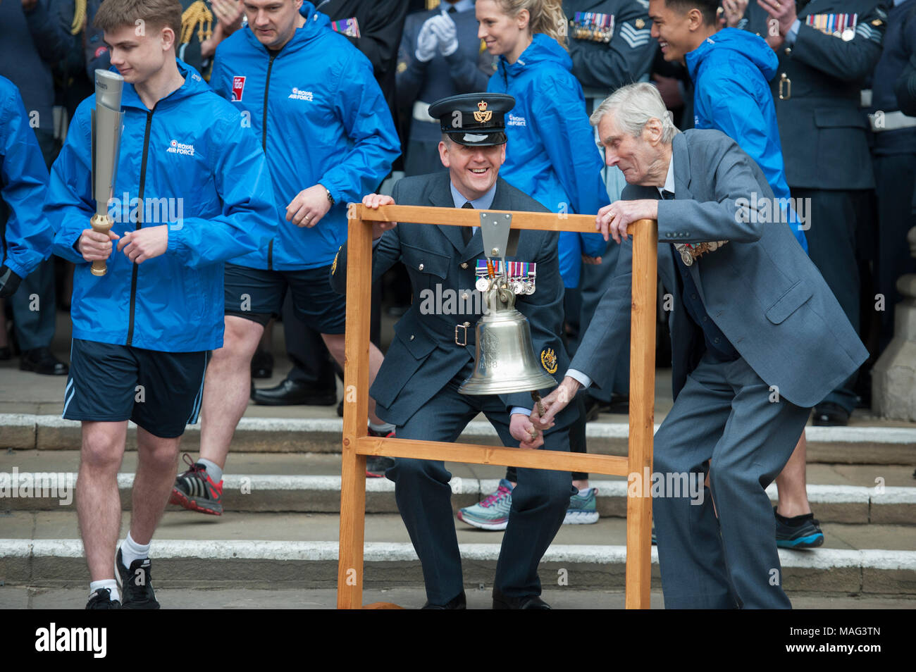 """One of the """"Few"""" Wing Commander (retd) Paul Farnes (right), a former Battle of Britain fighter pilot, signals the start of the RAF100 relay. - Stock Image"""