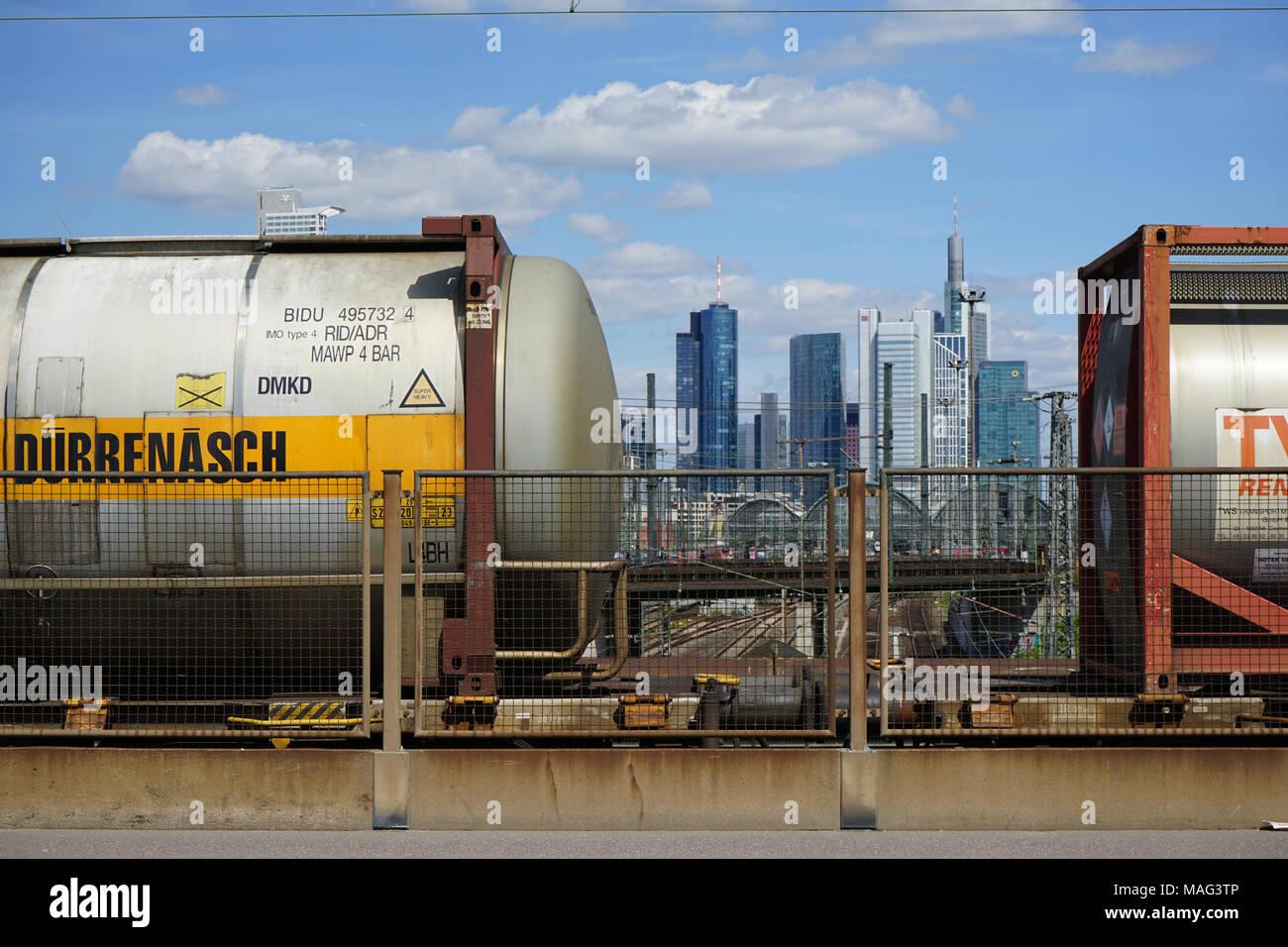 Two Waggons of a Freight Train, Skyline, Frankfurt, Germany, - Stock Image
