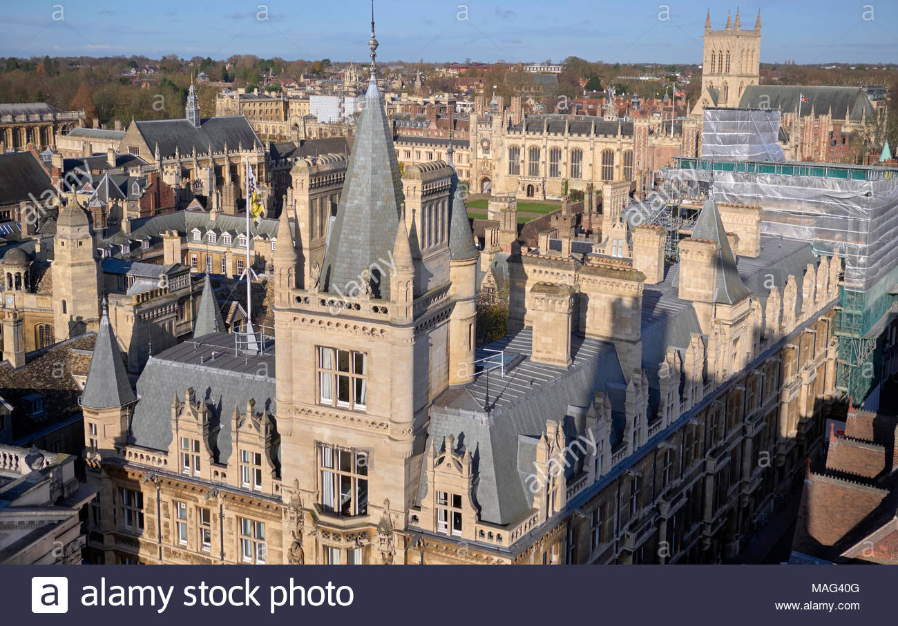Overlooking various colleges in the university city of cambridge in cambridgeshire england uk - Stock Image