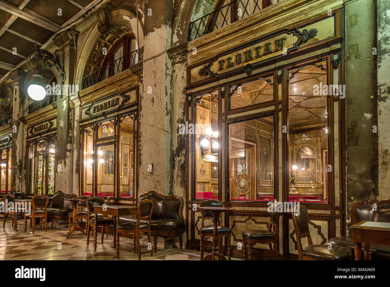 Cafe Florian in Venice Italy - Stock Image
