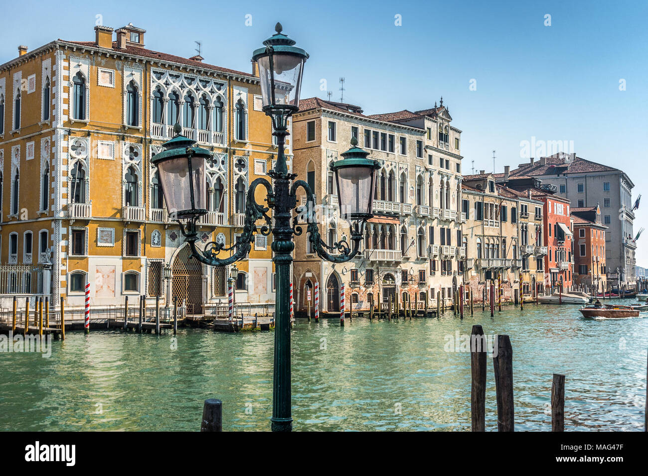 Looking across the Grand Canal at Accademia in Venice - Stock Image