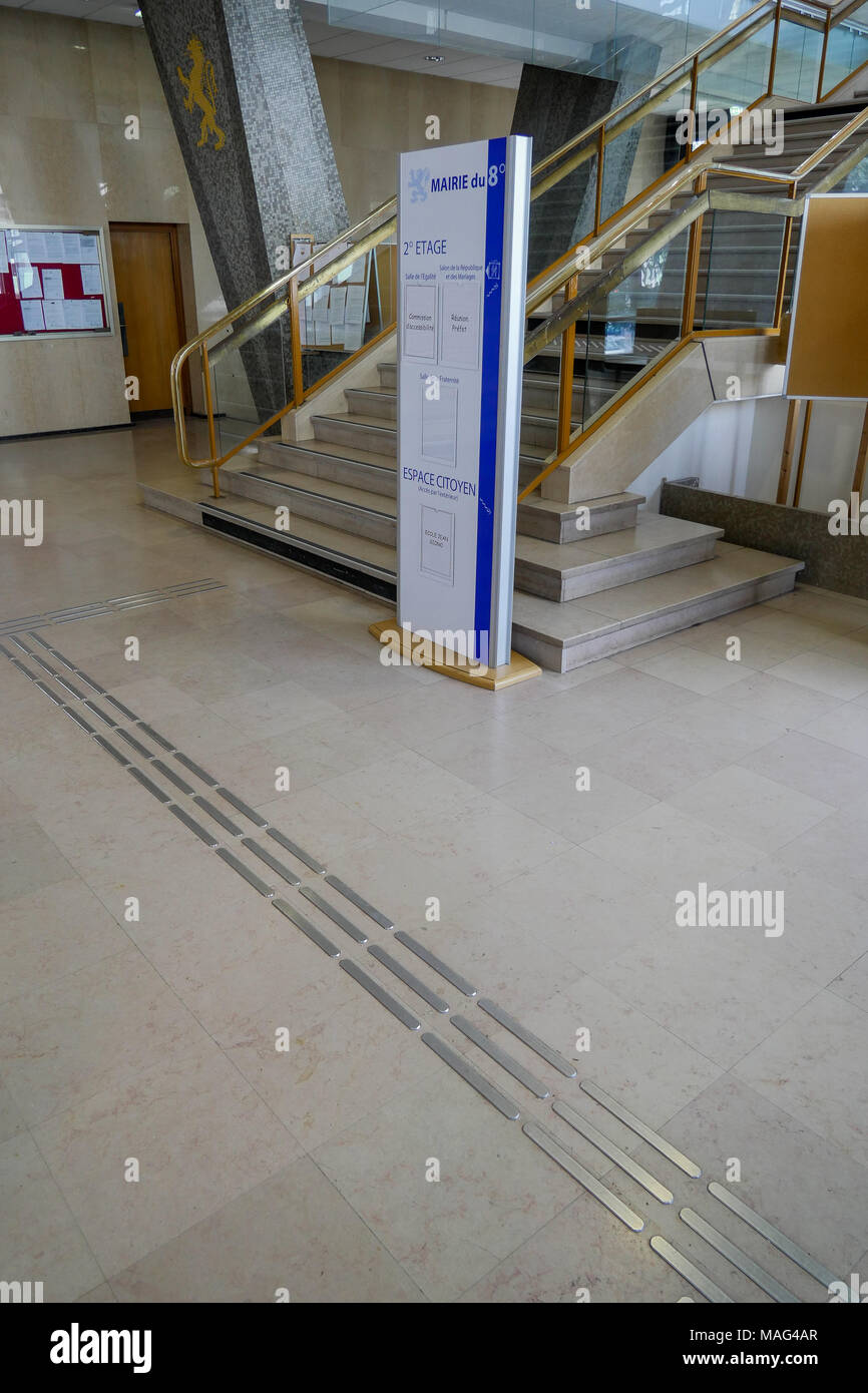 Tactile path for blind visitors in a public building, Lyon, France - Stock Image