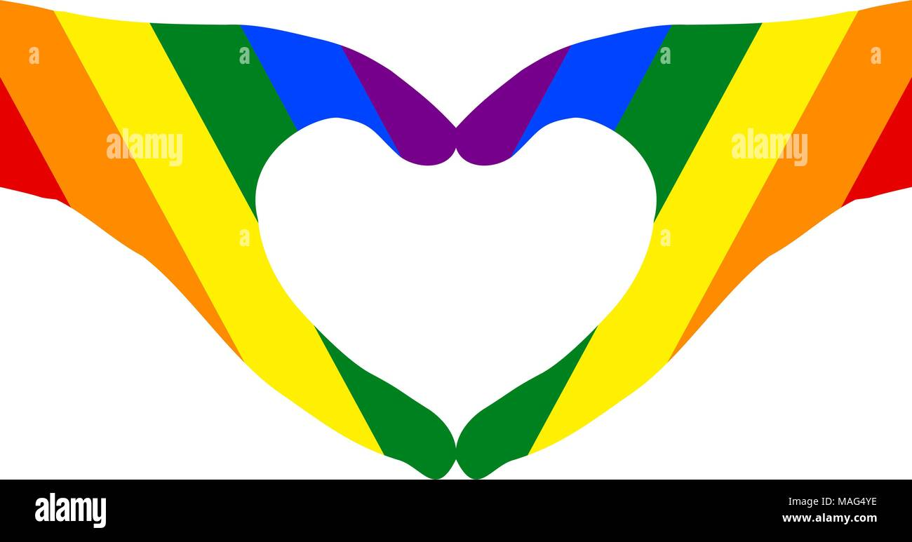 Pair of hands in heart shape (transparent background shown in white) painted with rainbow colors. Vector illustration, EPS10. - Stock Image