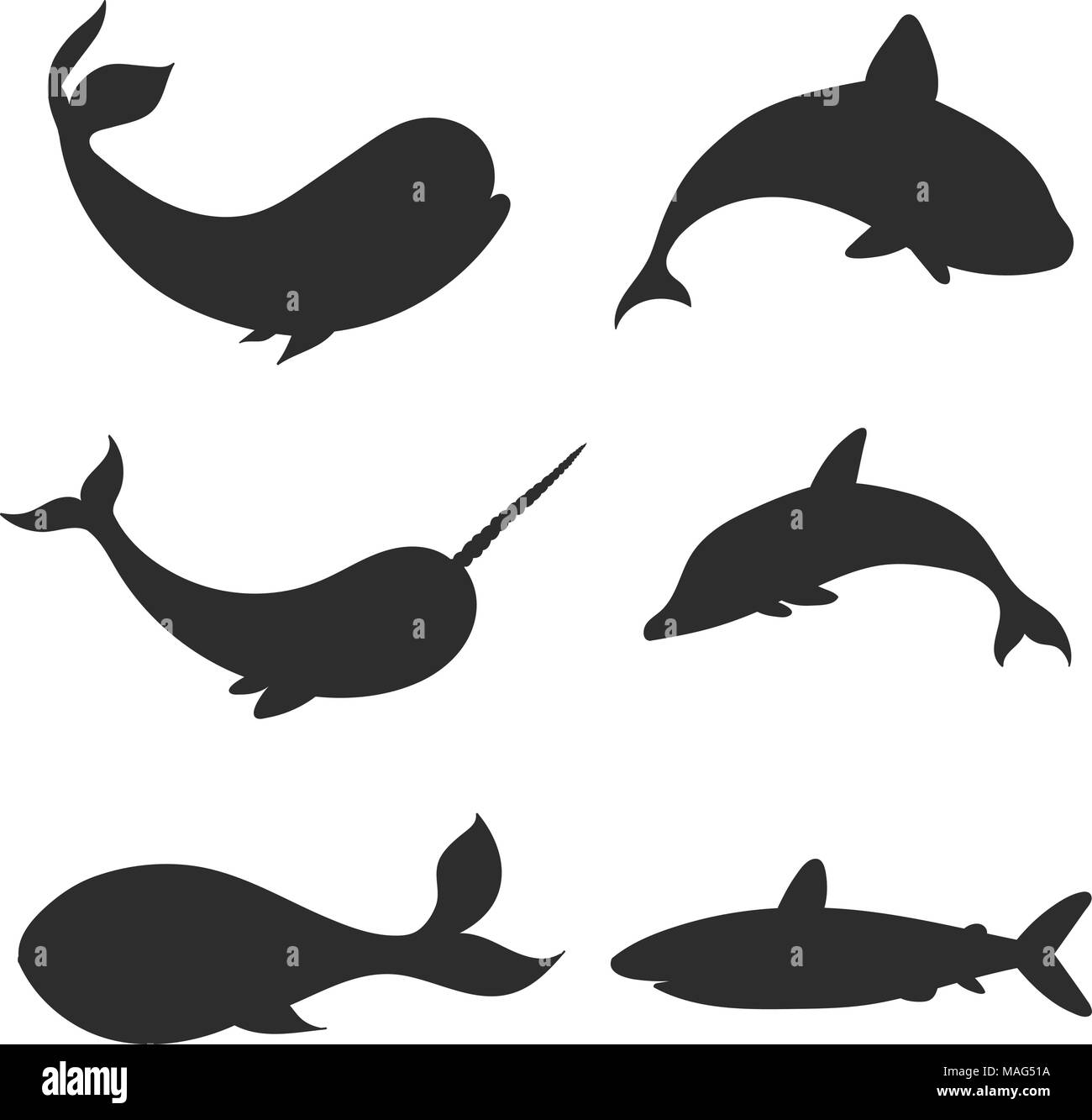Set of vector underwater life silhouettes with whales, shark, narwhal and dolphin. Sea creatures shapes  isolated on the white background. - Stock Image