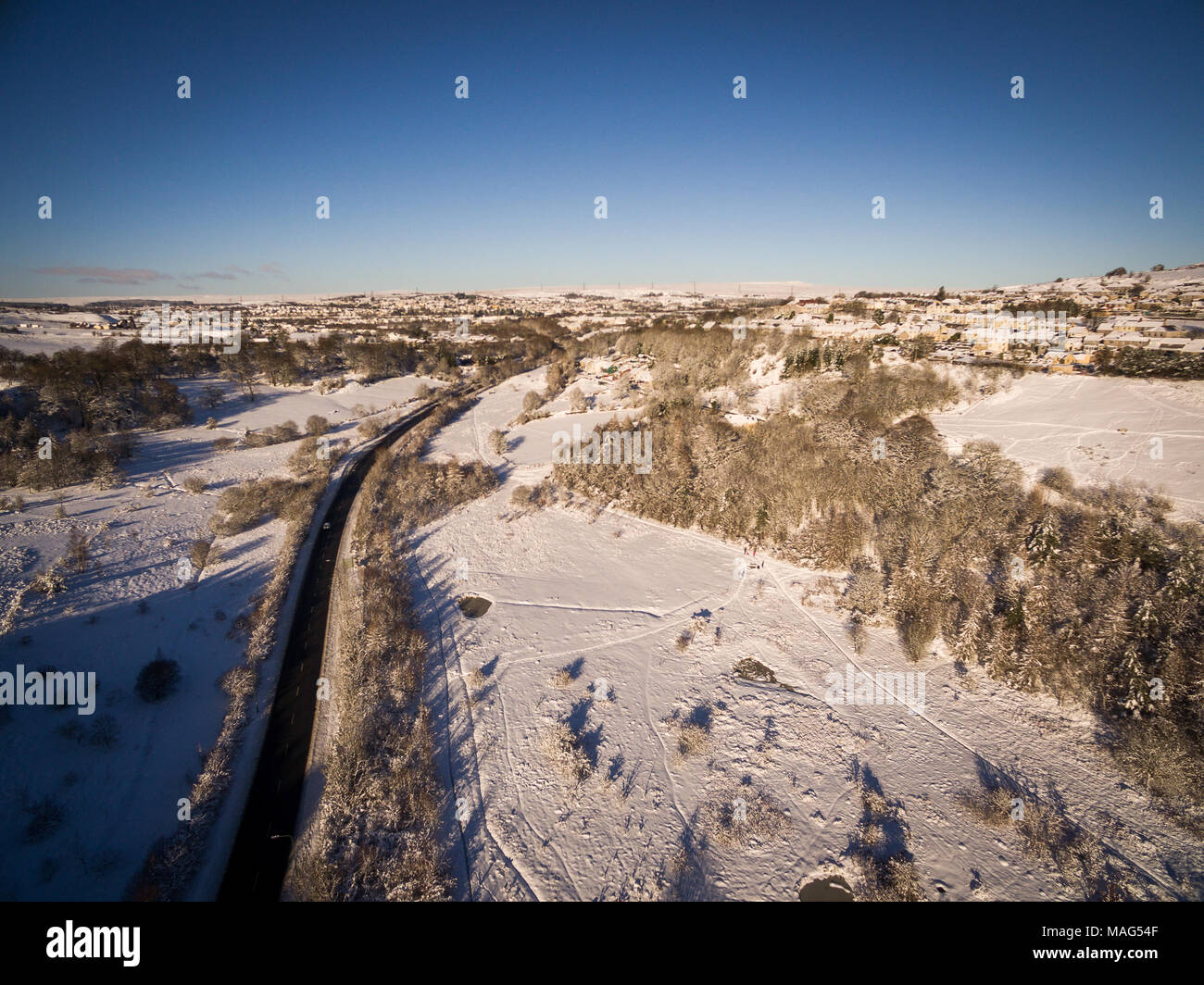 Small Welsh village Nantyglo covered in snow and blocked off from the Main Road Stock Photo