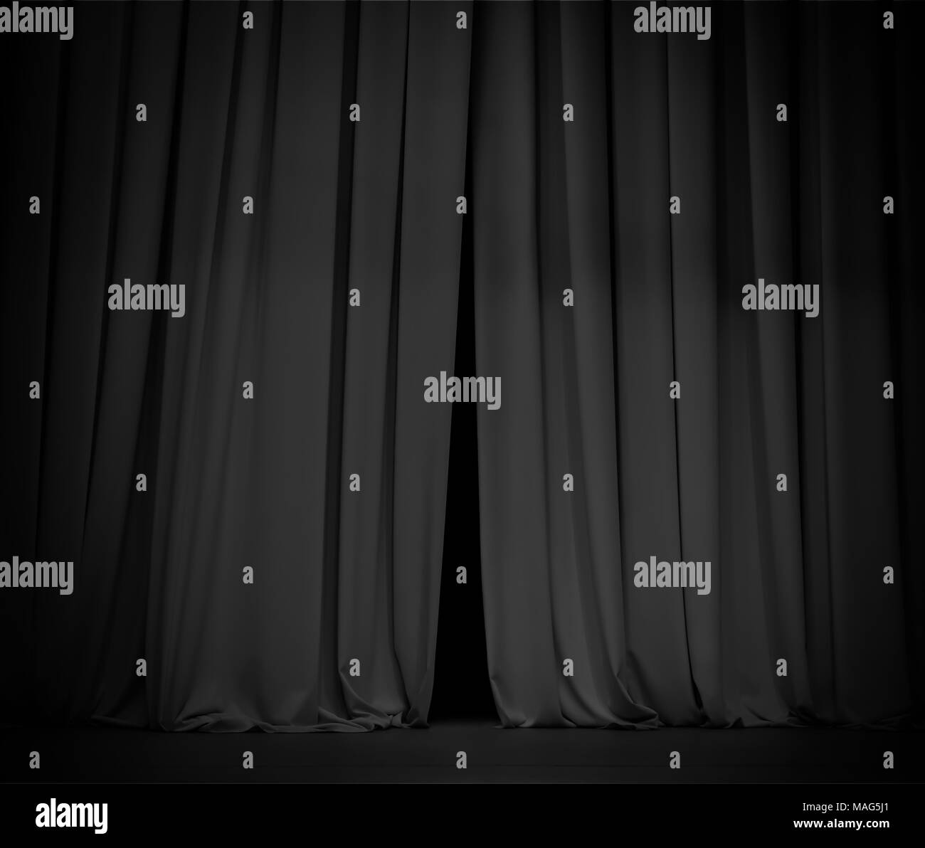 Black curtain background open a little bit Stock Photo
