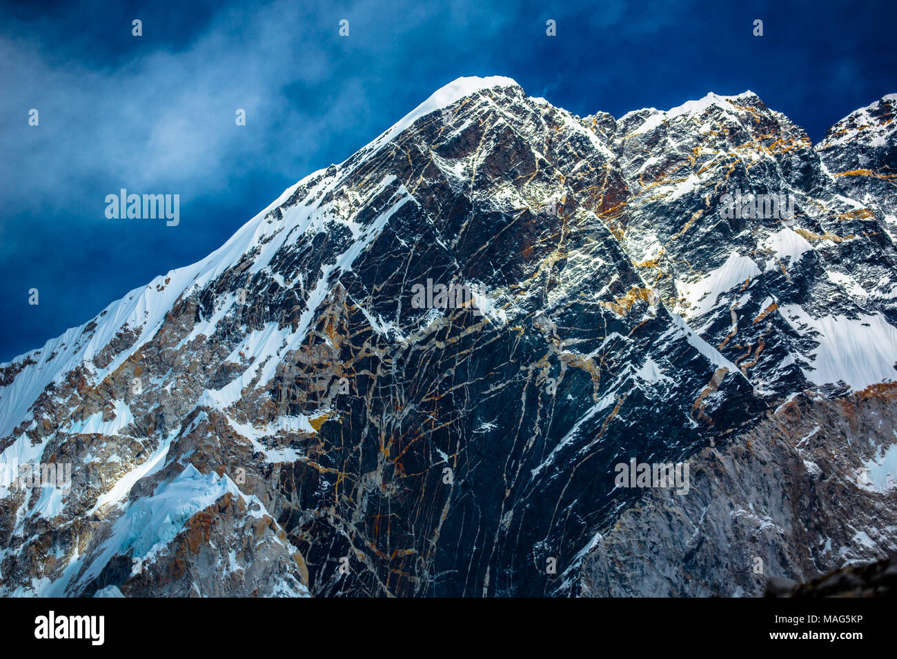 The rich geological history of the Himalayas can be seen in every mountains coloured rock face on the way to Base Camp Mount Everest, Nepal - Stock Image