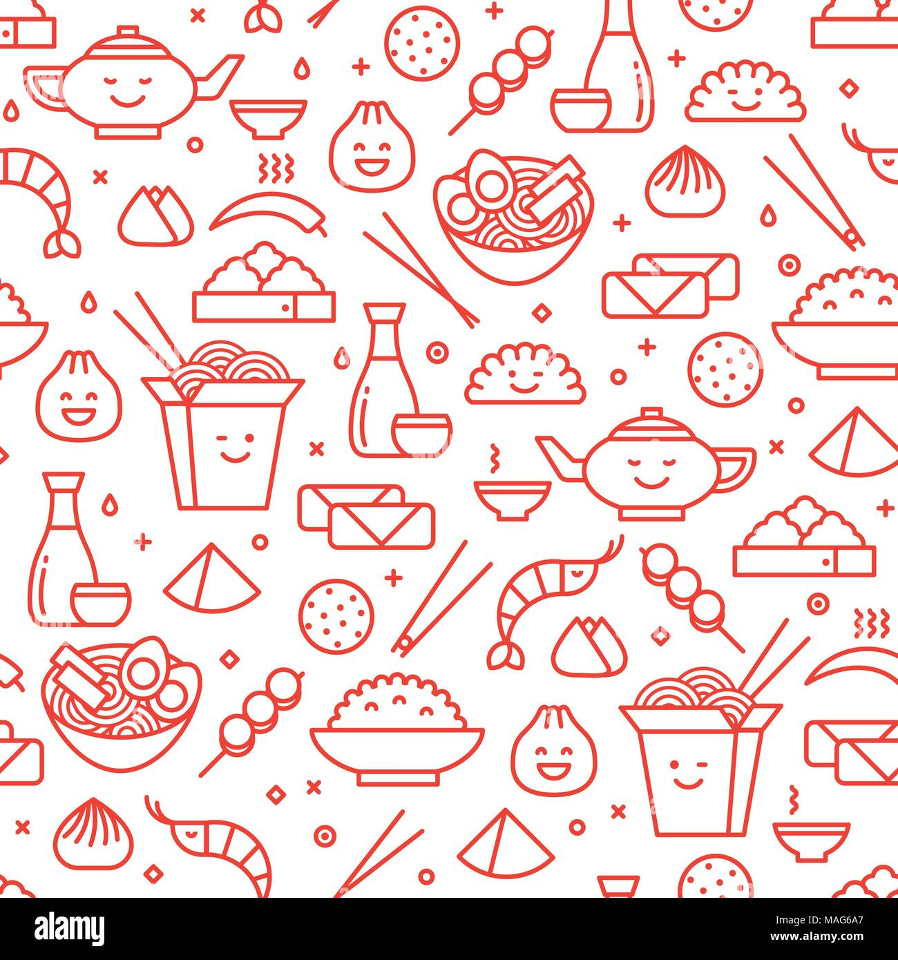 Vector line art seamless pattern of Chinese cuisine in outlined icons. Traditional food of different provinces of China take out boxes, noodles, dim - Stock Vector