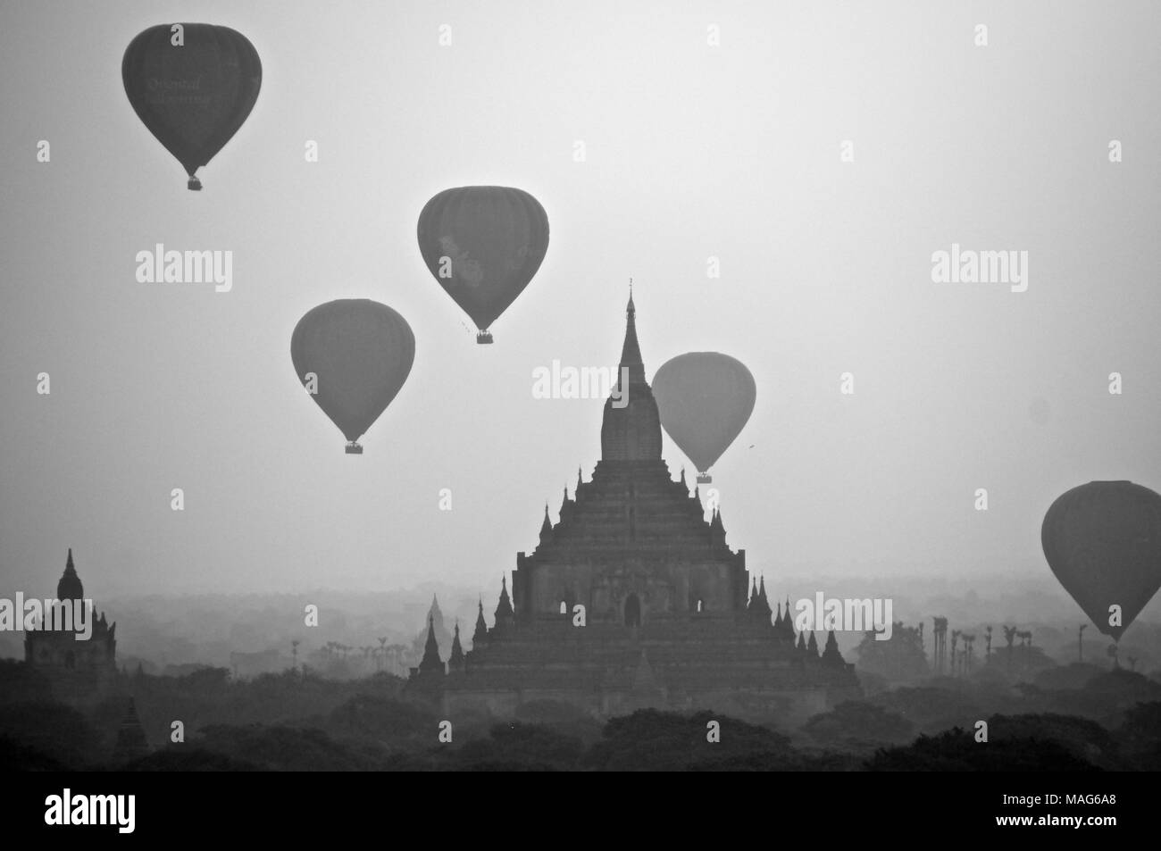 Black and white sunrise in Bagan, Myanmar - Stock Image