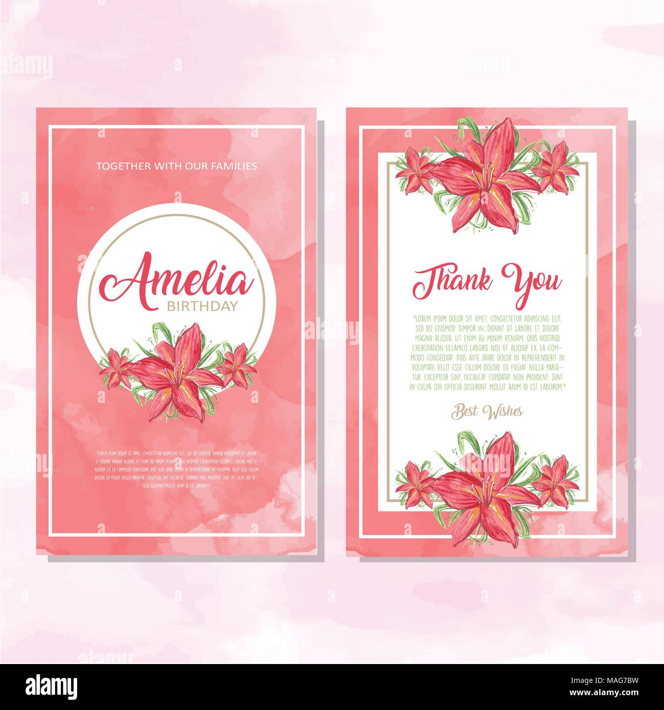 Colorful invitation greetings card with ornaments and flowers - Stock Vector