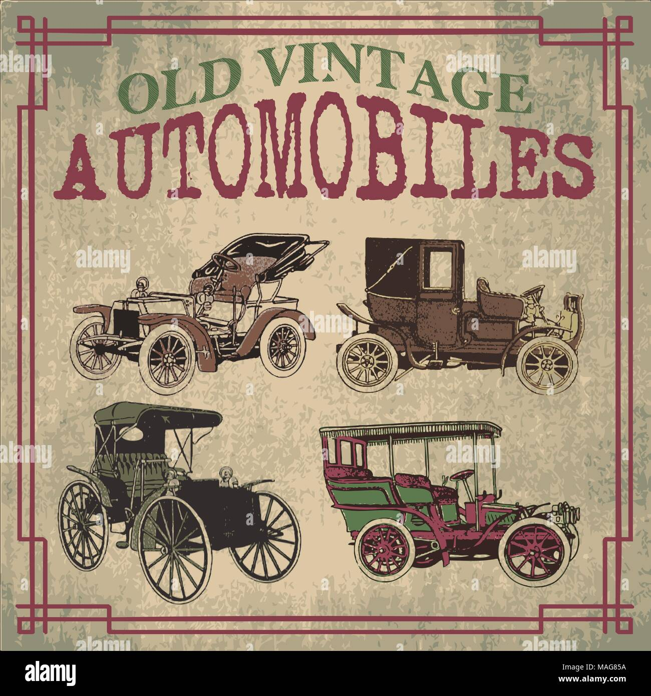 Old and vintage automobiles cars designs in vector - Stock Image