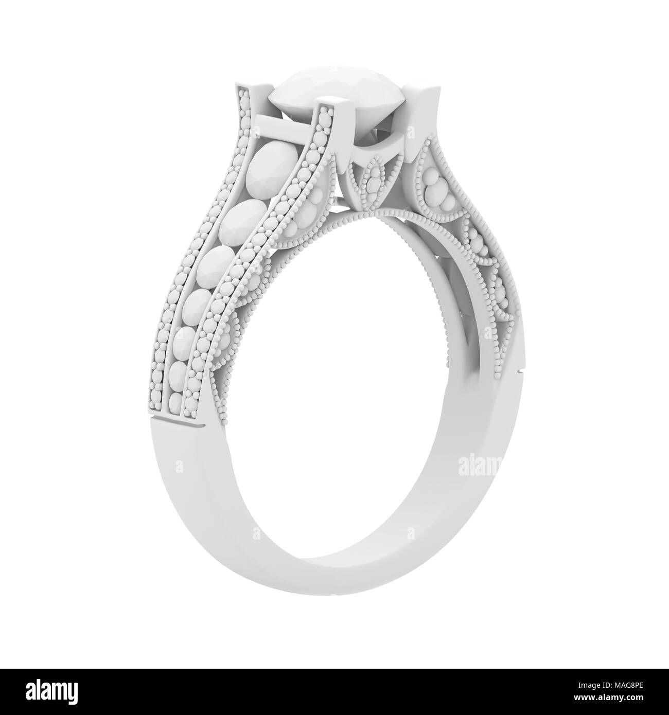 White gypsum cast material jewelry ring of 3d rendering isolate on white - Stock Image