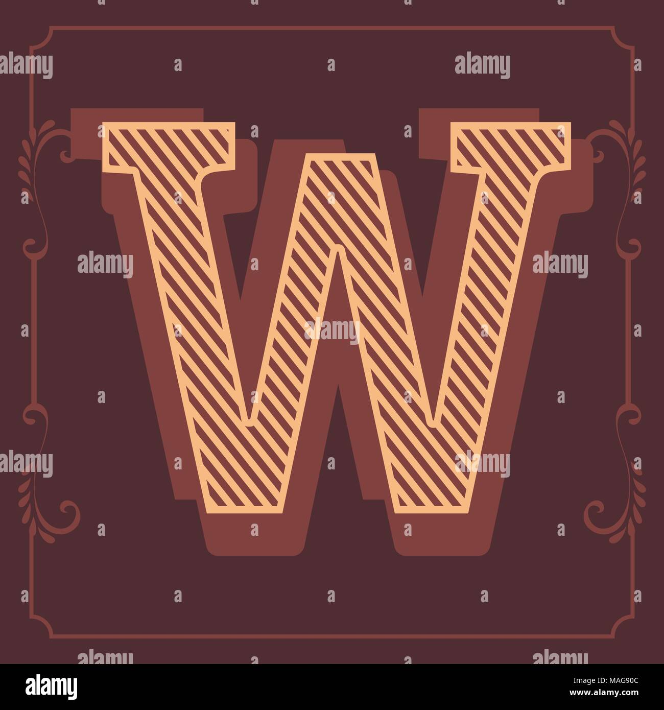 Letters of English Alphabet in vintage brown style design in vector - Stock Image
