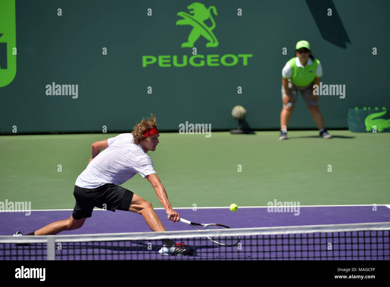 KEY BISCAYNE, FL - APRIL 01: Alexander Zverev breaks his racket in frustration and throws it dangerously into the crowd. John Isner (USA) defeats Alexander Zverev (GER) 67(4) 64 64 in the Mens Final at the Miami Open held at the Crandon Park Tennis Center on April 1, 2018 in Key Biscayne, Florida   People:  Alexander Zverev - Stock Image