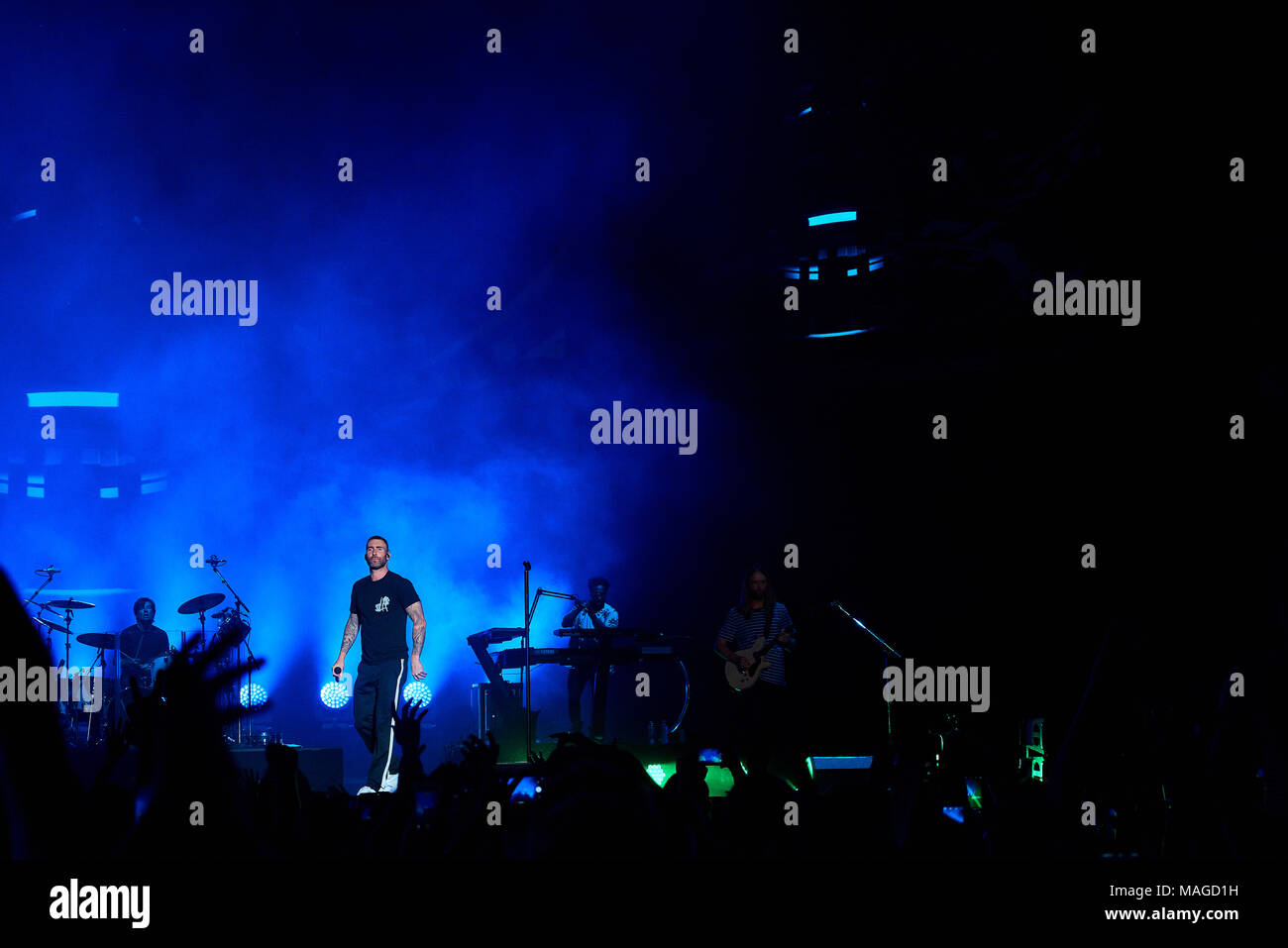 San Antonio, TX, USA  1st April 2018, Maroon 5 plays a free concert