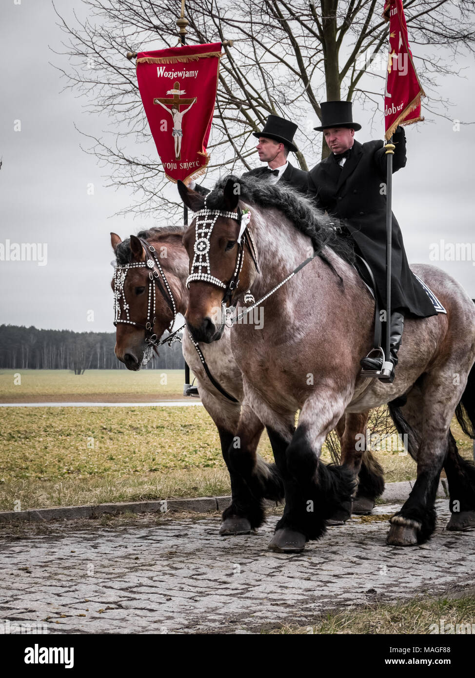 Lausitz Germany 1st Apr 2018 Easter Riders From Wittichenau And Their Beautiful Draft Horses Carrying Banners Side Profile Sorbian Easter Procession Osterreiten Credit Krino Alamy Live News Stock Photo Alamy