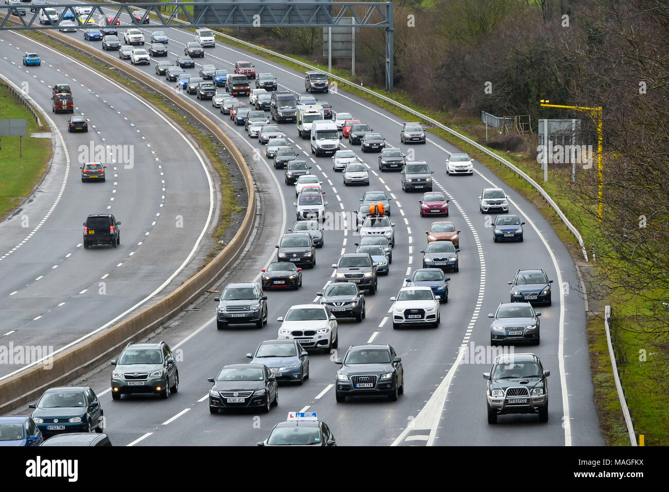 Exeter, Devon, UK. 2nd April 2018. Holidaymakers queuing in a traffic jam on the East bound carriageway on the A38 at Kennford near Exeter in Devon on Easter Monday as they return home from their Easter weekend holidays.  Picture Credit: Graham Hunt/Alamy Live News - Stock Image