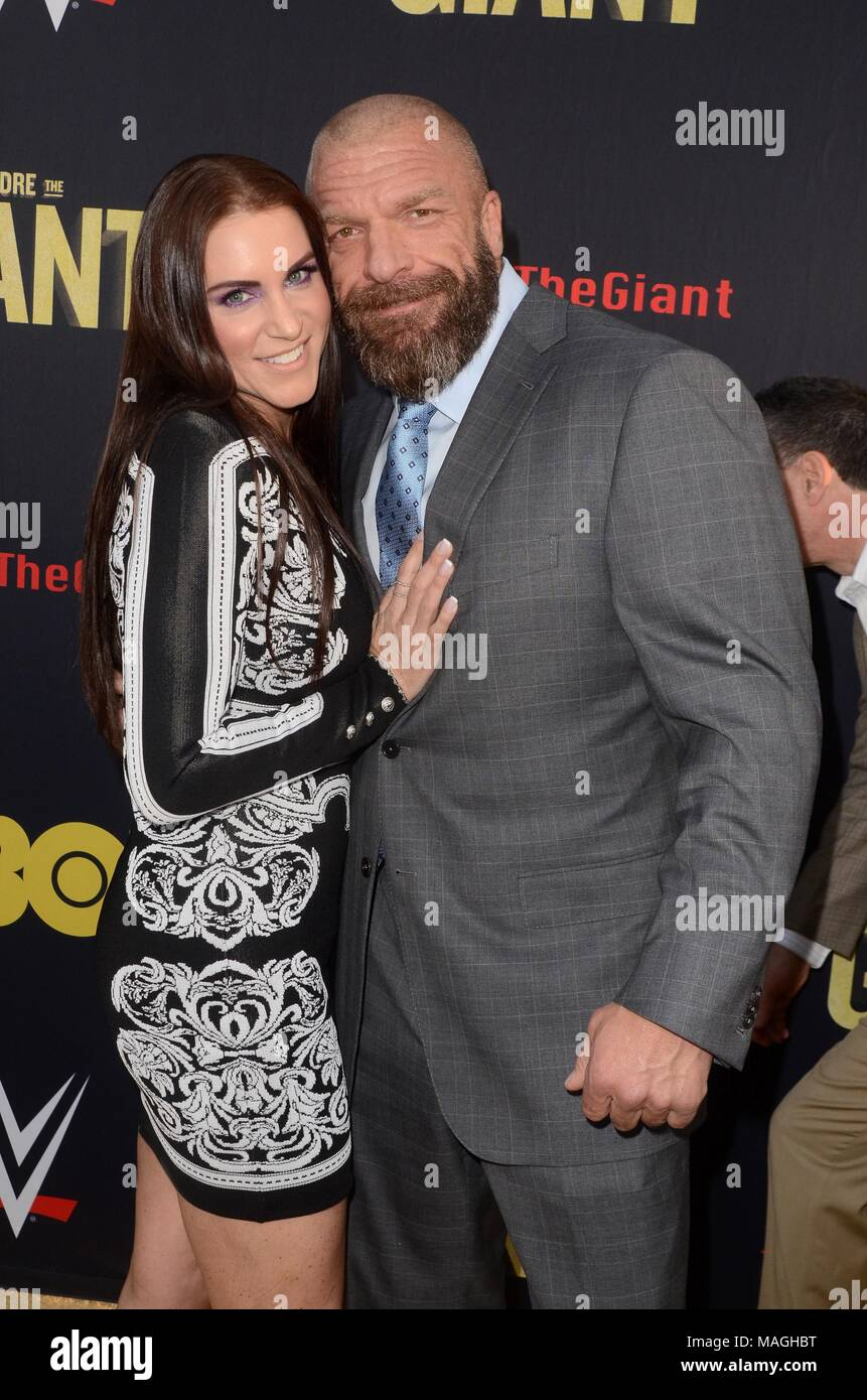 Los Angeles, CA, USA. 29th Mar, 2018. Stephanie McMahon, Paul Levesque at arrivals for ANDRE THE GIANT HBO Premiere, Cinerama Dome, Los Angeles, CA March 29, 2018. Credit: Priscilla Grant/Everett Collection/Alamy Live News - Stock Image