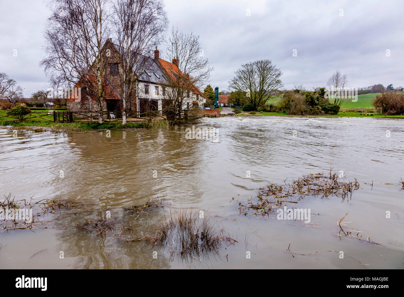 Uk Weather Flooding Along The Nene Valley After
