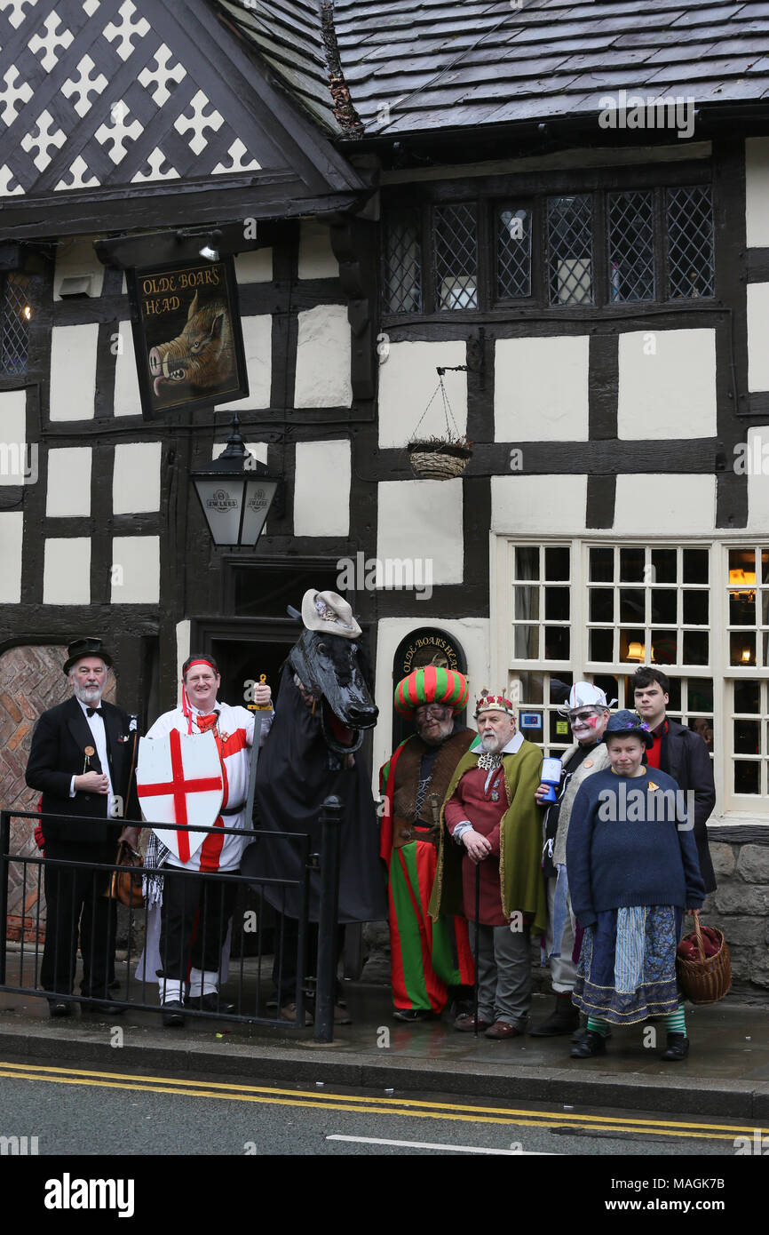 Middleton, UK, 2 April 2018. The cast of the Pace Egg Play on Easter Monday, the Pace Egg play tours Pubs throughout Middleton, 2nd April, 2018 (C)Barbara Cook/Alamy Live News Stock Photo