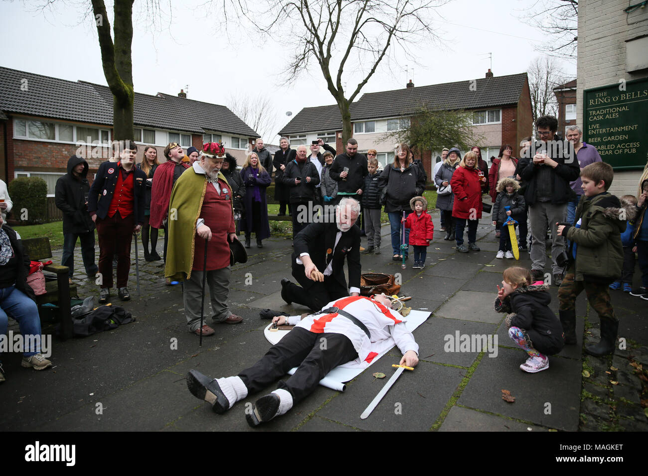 Middleton, UK, 2 April 2018. Crowds gather on Easter Monday to watch the Pace Egg play as it tours Pubs throughout Middleton, 2nd April, 2018 (C)Barbara Cook/Alamy Live News Stock Photo