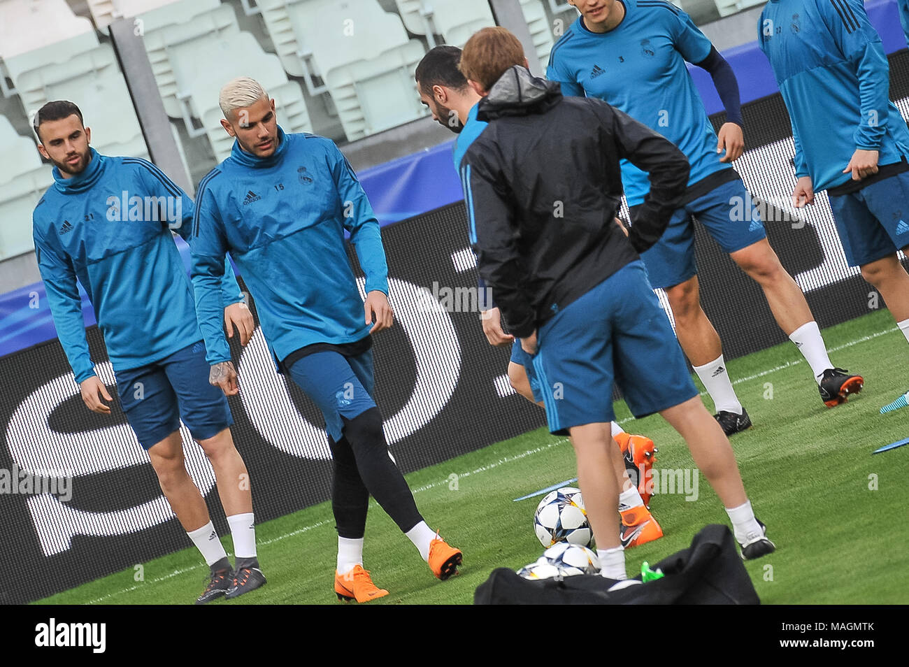 Turin, Italy, 2 April 2018. during the media conference before UEFA Champions League's football match between Juventus FC and Real Madrid CF at Allianz Stadium on 3th April, 2018 in Turin, Italy. Credit: FABIO PETROSINO/Alamy Live News - Stock Image