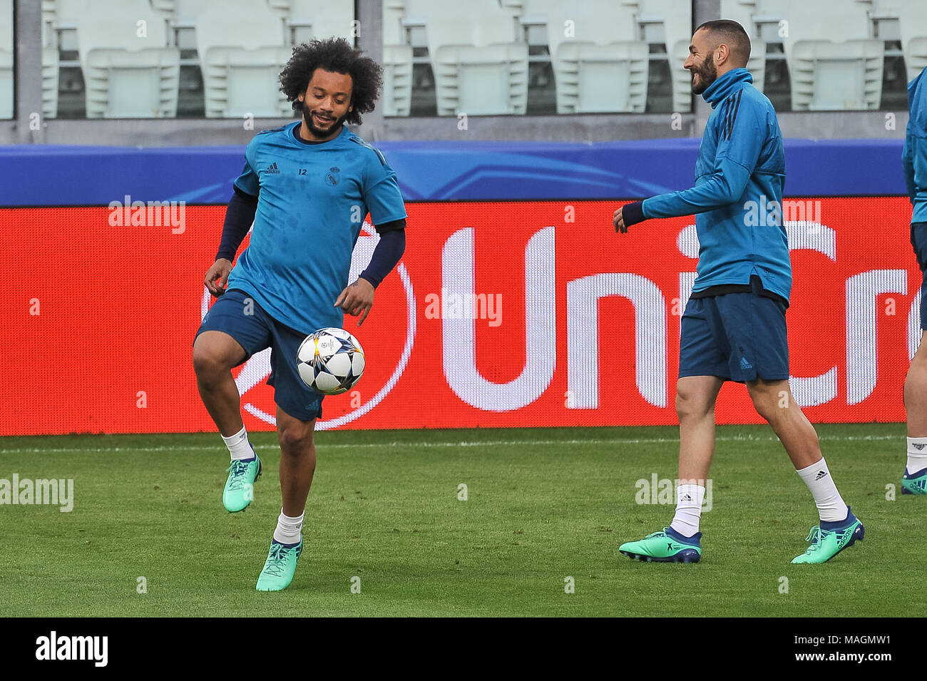 Turin, Italy, 2 April 2018. Marcelo (Real Madrid CF) during the media conference before UEFA Champions League's football match between Juventus FC and Real Madrid CF at Allianz Stadium on 3th April, 2018 in Turin, Italy. Credit: FABIO PETROSINO/Alamy Live News - Stock Image