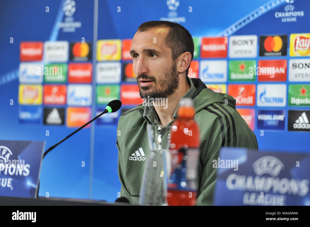 Turin, Italy, 2 April 2018. Giorgio Chiellini (Juventus FC) during the media conference before UEFA Champions League's football match between Juventus FC and Real Madrid CF at Allianz Stadium on 3th April, 2018 in Turin, Italy. Credit: FABIO PETROSINO/Alamy Live News - Stock Image