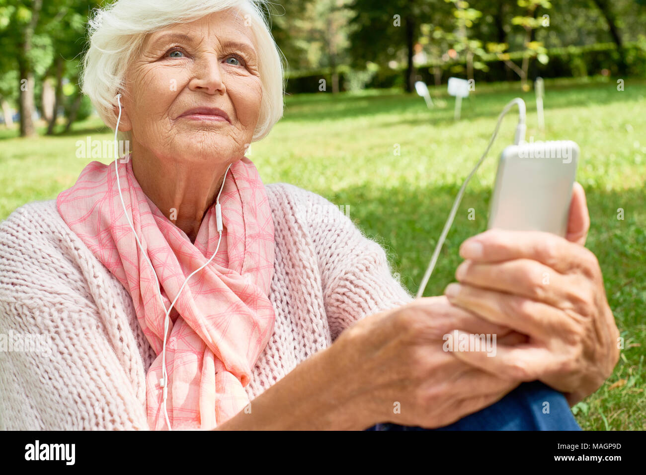 Senior Woman Using Smartphone - Stock Image