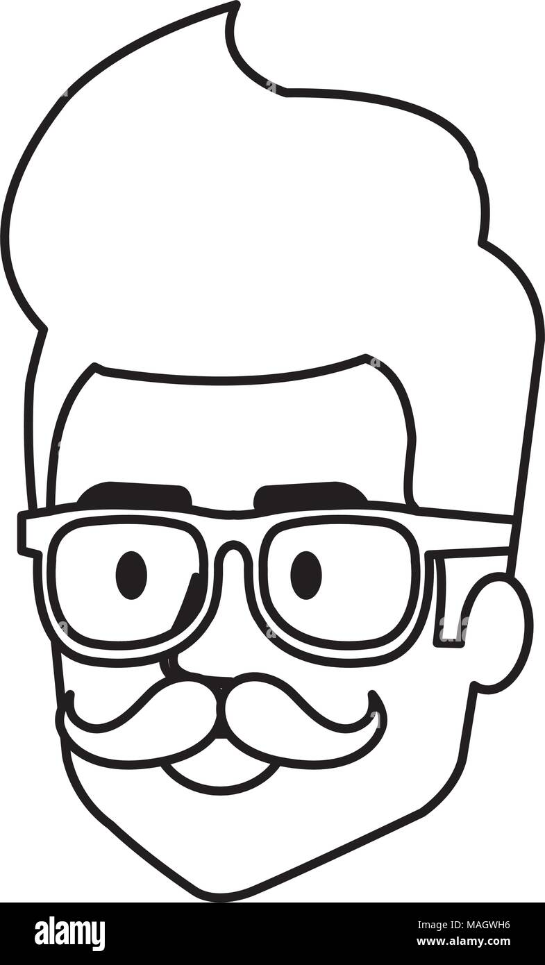 Young man hipster style head avatar character vector illustration design