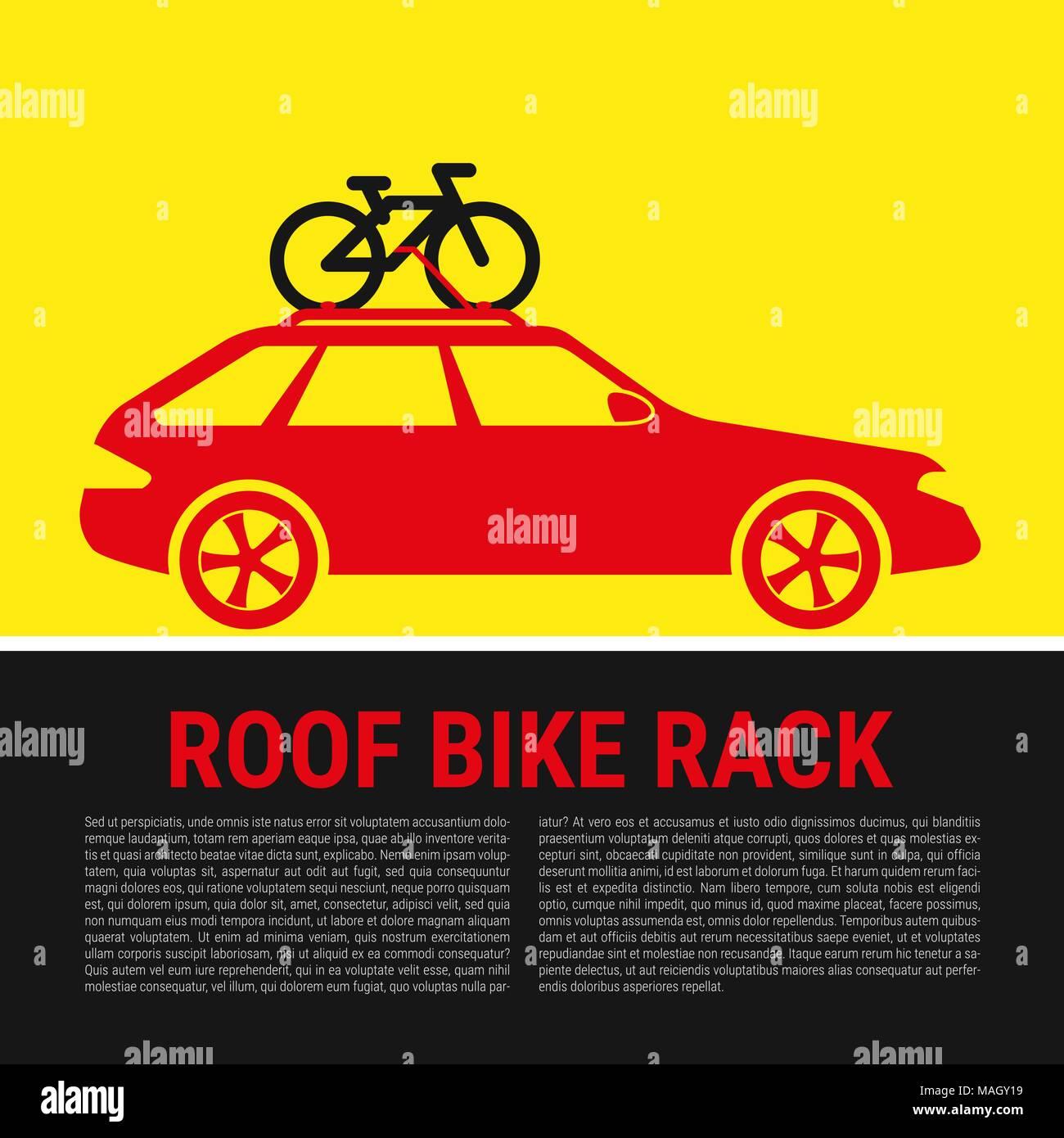 Roof Bike Rack. Bicycle Rack Silhouette Illustration - Stock Vector
